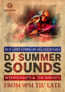 DJ Night, buy one get one on all cocktails
